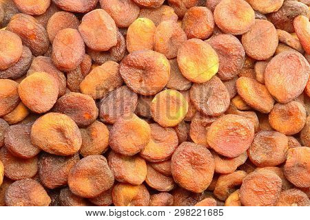 Stack Of Sundried Apricots From Top View