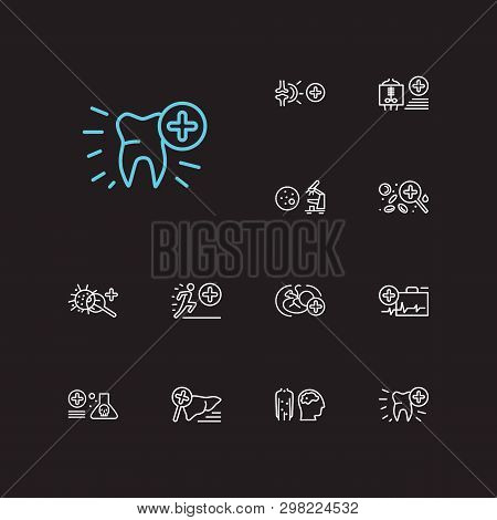 Medicine Icons Set. Dentistry And Medicine Icons With Radiology, Toxicology And Hepatology. Set Of O