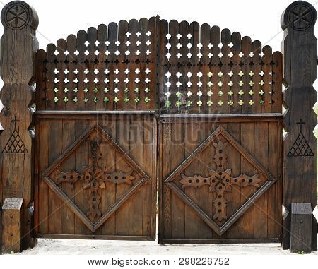 Stock Photo Old Wooden Vintage Church A Fence Of Logs Wooden Gates Orthodox Christian Church