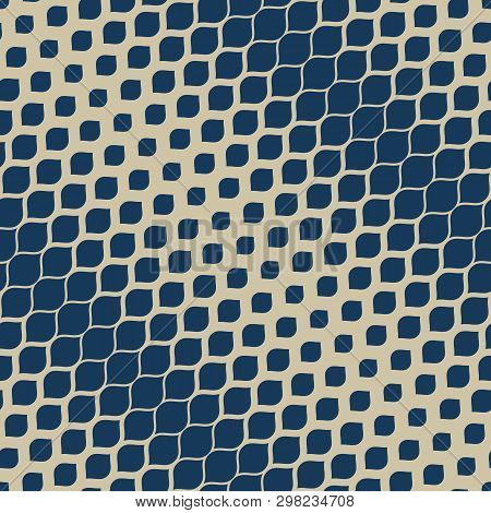 Vector Halftone Geometric Seamless Pattern. Elegant Deep Blue And Gold Texture With Diagonal Gradien