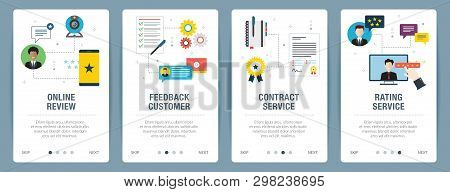 Web Banners Concept In Vector With Online Review, Feedback Customer, Contract Service And Rating Ser