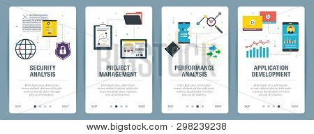Web Banners Concept In Vector With Security Analysis, Project Management, Performance Analysis And A