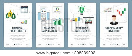 Web Banners Concept In Vector With Financial Profitability, Financial Application, Expertise Investm