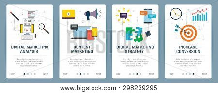 Web Banners Concept In Vector With Digital Marketing Analysis, Content Marketing, Strategy And Incre