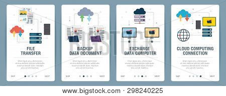 Vector Set Of Vertical Web Banners With File Transfer, Backup Data Document, Exchange Data Computer