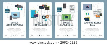 Vector Set Of Vertical Web Banners With Backup Cloud Computing, Backup Laptop Data, Send And Receive