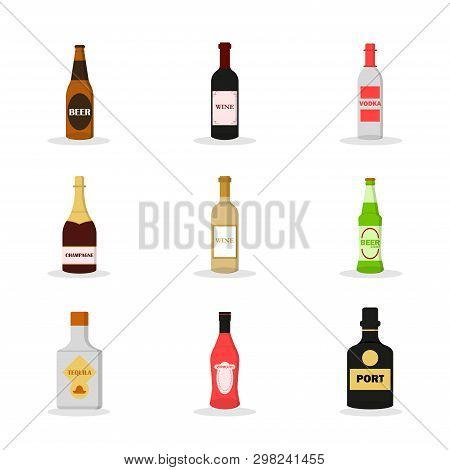 Flat Set Of Alcoholon White Background. Alcoholic Drink. Vector Collection. Set Of Dark Beer, Red Wi
