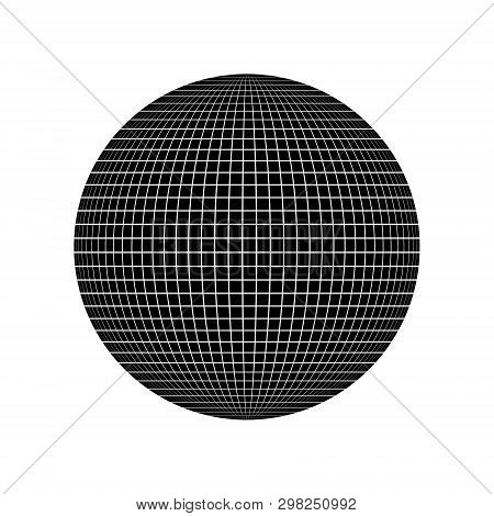 Isolated Global Grid Sphere Design . Template For Your Design