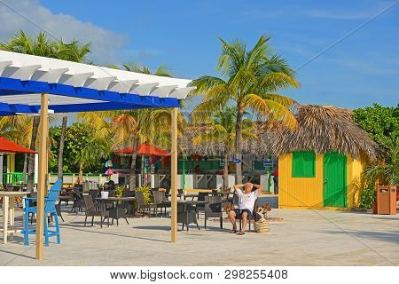 Bahamas - Dec 27, 2014: Pirates Cove At Half Moon Cay, Little San Salvador Island, The Bahamas. Half