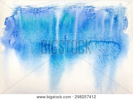 Watercolor Splash Drawn By Hand. Abstract Blue Watercolor On White Background