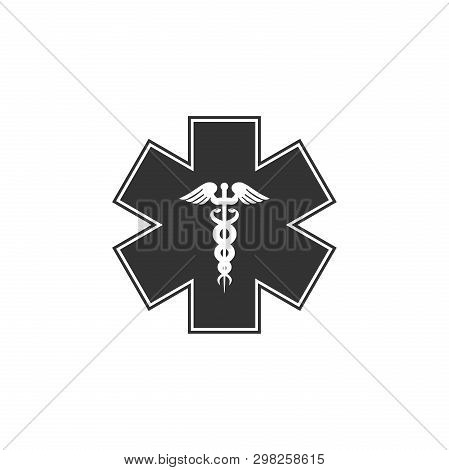 Emergency Star - Medical Symbol Caduceus Snake With Stick Icon Isolated. Star Of Life. Flat Design.