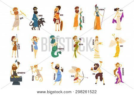 Greek Gods Set, Dionysus, Hermes, Hephaestus, Zeus, Hades, Poseidon, Aphrodite, Artemis Ancient Gree