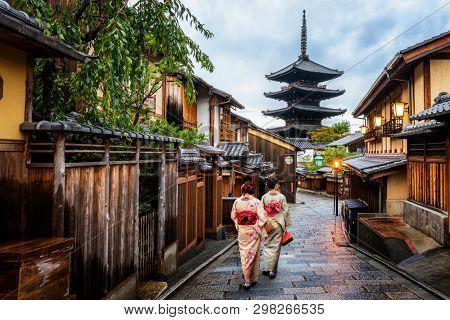 Kyoto, Japan Culture Travel - Asian Traveler Wearing Traditional Japanese Kimono Walking In Higashiy