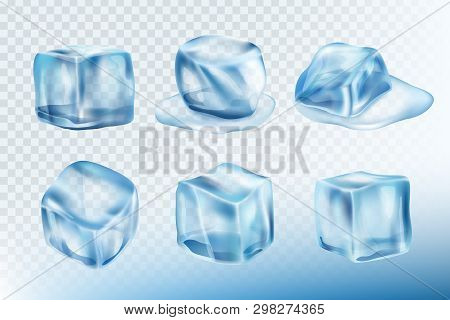 Ice Cubes Realistic. Puddles Smudges And Splashes Of Freeze Water Vector Pictures Collection. Freeze