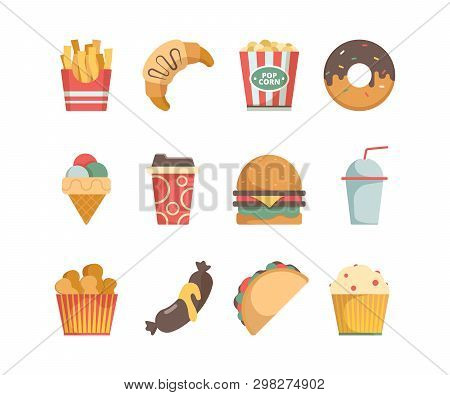 Fast Food Icons. Hamburger Pizza Sausages Snacks Sandwich Ice Cream Food Menu Vector Flat Pictures.