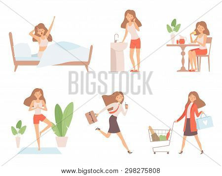 Woman Daily Routine. Business Lady Time Management Life Every Day Process Working Mother Vector Cart