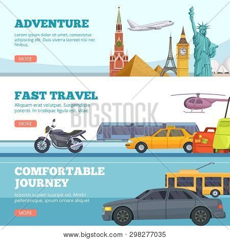 Travel Banners. Globe Adventure Transport Travellers Landmarks London Paris New York Russia Comforta