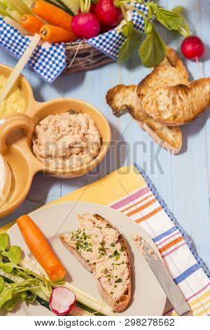 Open Sandwich With Roasted Bread Ciabatta And Herring Cream Cheese