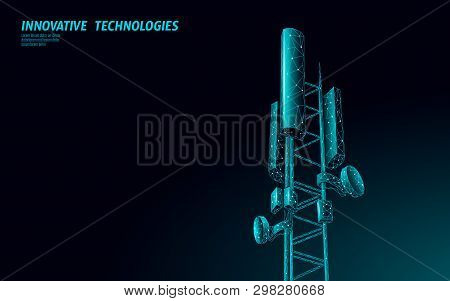 3d Base Station Receiver. Telecommunication Tower 5g Polygonal Design Global Connection Information