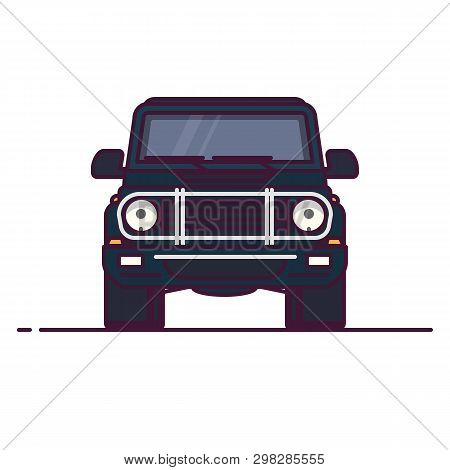 Front View Of Luxury Suv. Line Style Vector Illustration. Off Road Vehicle Banner. Offroad Modern Ca