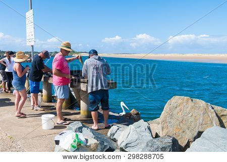 Fishermans Cleaning Fish In The Small Fishing Village Of Crowdy Head, Famous For The Breakwall Used