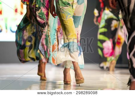 Sofia, Bulgaria - 26 March, 2019: Female Models Walk The Runway In Beautiful Colorful Summer Dresses