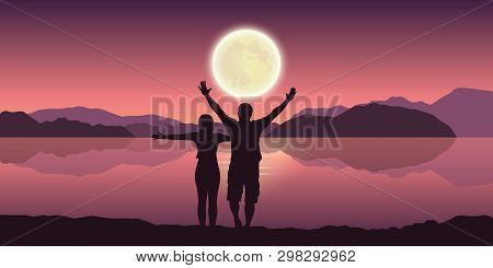 Happy Couple With Arms Raised Enjoy The Full Moon And Mountain Landscape By The Lake Vector Illustra
