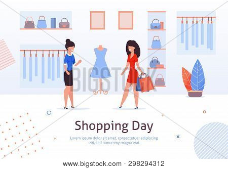 Fashion Clothing Store Banner With Shop Interior, Clothing On Hangers And Bags On Shelves, Fitting R