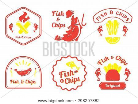 Fish And Chips Retro Badge Design Vector Illustration With Cot Fish,lemon,plastic Fork,fire And Fren