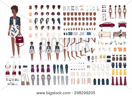 Stylish African American Woman Constructor. Trendy Girl Creation Set. Various Postures, Hairstyle, F