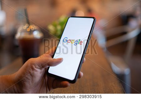Chiang Mai, Thailand - Mar. 24,2019: Man Holding Xiaomi Mi Mix 3 With Google Search On Screen. Googl