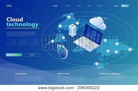 Cloud Computing Concept. Cloud Storage Isometric Vector Illustration. Online Computing Technology. B