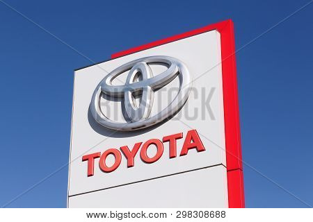 Odder, Denmark - March 30, 2018: Toyota Logo On A Panel. Toyota Motor Corporation Is A Japanese Auto