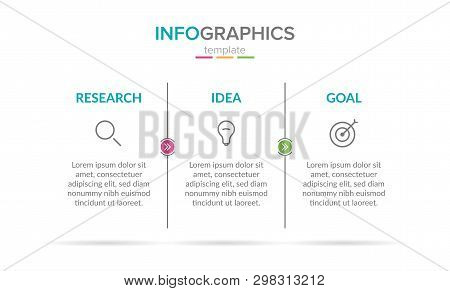 Vector Infographic Label Template With Icons. 3 Options Or Steps. Research, Idea And Goal. Infograph