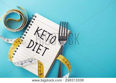 Keto Diet On Blue Background