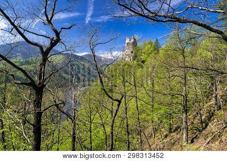 Medieval Strecno Castle On The Cliff, Slovakia