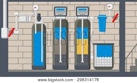 Water Treatment System Flat Vector Illustration. Filter In Cut. Liquid Purification Technology. Rese