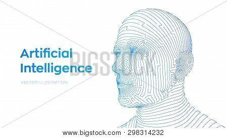 Ai. Artificial Intelligence Concept. Ai Digital Brain. Abstract Digital Human Face. Human Head In Ro