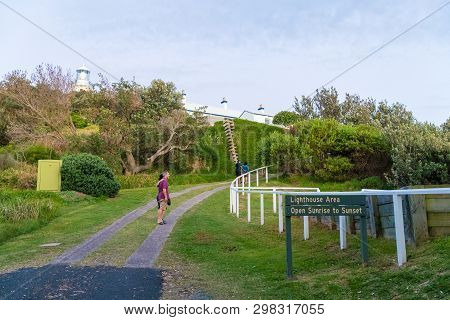 People Visiting The Lighthouse At Sugarloaf Point Seal Rocks, Myall Lakes National Park, New South W
