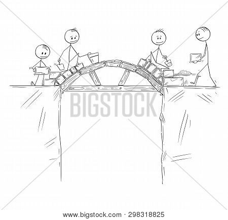 Cartoon Stick Figure Drawing Conceptual Illustration Of Group Of Builders Or Workers Or Businessmen