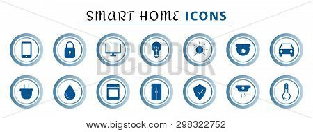 Set Of Smart Home Line Icons, Wireless Temperature And Light Control, Air Conditioning, Security. In