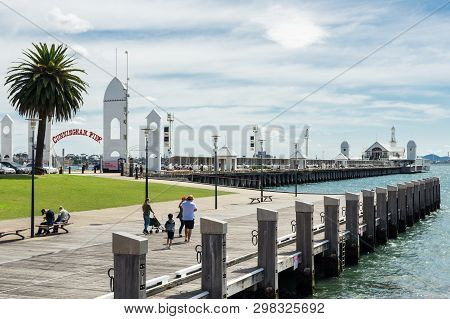 Geelong, Australia - October 14, 2018: Geelong Harbour With Cunningham Pier In The Background.