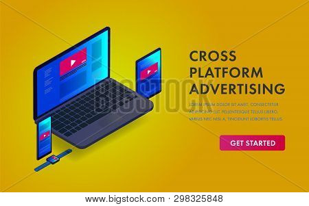 Cross-device Programmatic Advertising Isometric Concept Web Template. Online Marketing Target On Mul