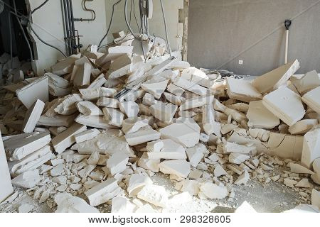 Large Pile Of Construction Debris From Foam Blocks At The Construction Site