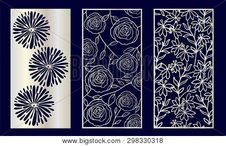 Set Of Decorative Laser Cut Panels With Floral Elements. Vector Illustration.