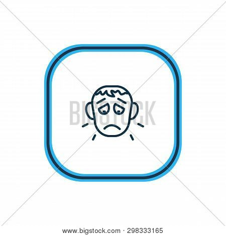 Vector Illustration Of Offence Icon Line. Beautiful Emoticon Element Also Can Be Used As Sorrow Icon
