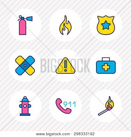 Vector illustration of 9 necessity icons colored line. Editable set of match, 911, fire extinguisher and other icon elements. poster
