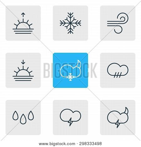 Vector Illustration Of 9 Sky Icons Line Style. Editable Set Of Rain, Drop, Snowstorm And Other Icon