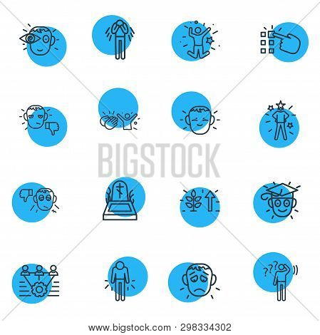 Illustration Of 16 Emoji Icons Line Style. Editable Set Of Death, Offence, Teamwork And Other Icon E
