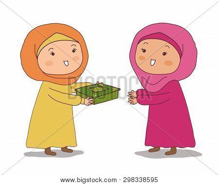 Arab Girl Gives Her Friend A Casket. Vector Illustration.